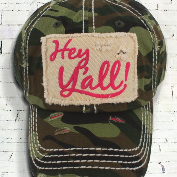 Distressed Embroidered Hey Yall Camo Cowgirl Ball Cap