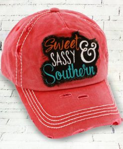 Vintage Brick Distressed Country Cowgirl Ball Cap Sweet Sassy Southern