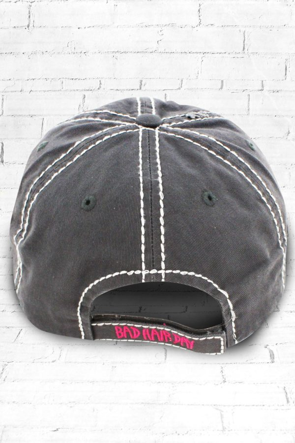 Distressed Gray Embroidered Bad Hair Day Cowgirl Ball Cap