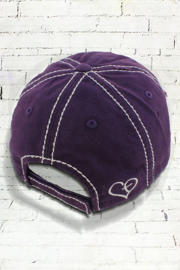Distressed Purple and Leopard Blessed Cowgirl Ball Cap