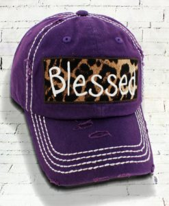 Distressed Purple Leopard Blessed Cowgirl Ball Cap