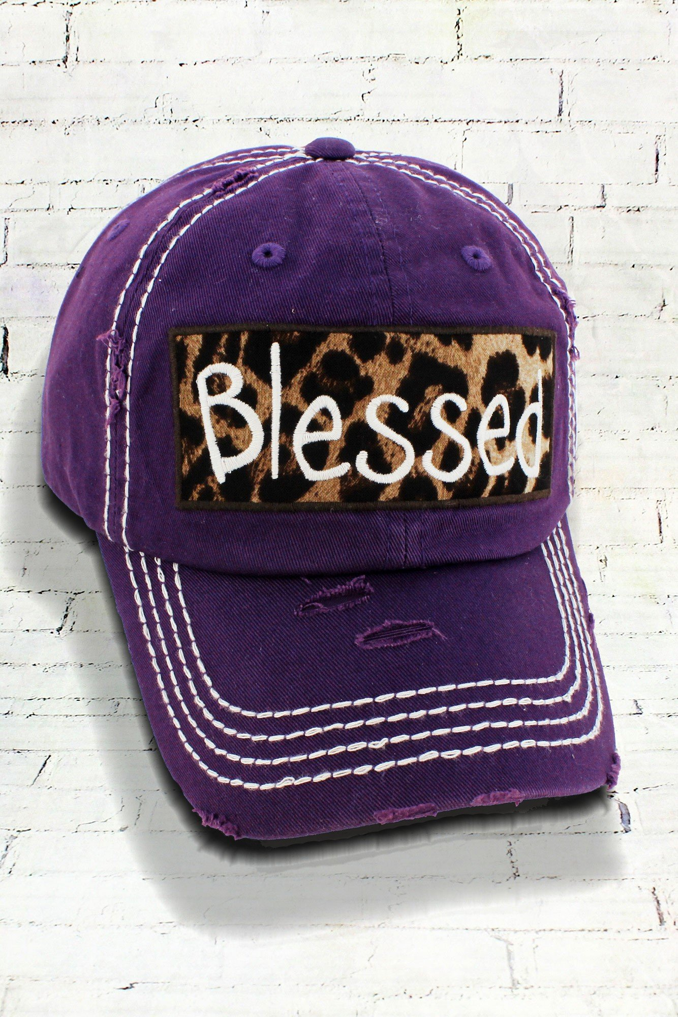 Distressed Purple Leopard Blessed Cowgirl Ball Cap dbaf30d554dc