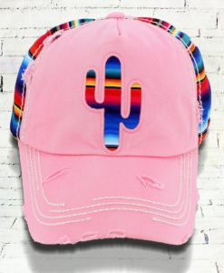 Distressed Serape Cactus Cowgirl Ball Cap, Pink