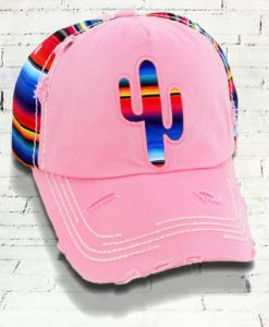 Vintage Light Pink Distressed Country Cowgirl Ball Cap Serape Cactus