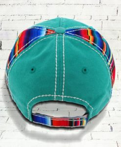 Distressed Turquoise Serape Horse Cowgirl Ball Cap