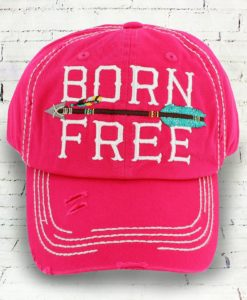 Vintage Hot Pink Distressed Country Cowgirl Ball Cap Born Free Indian Arrow