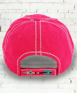 Distressed Born Free Indian Arrow Cowgirl Ball Cap, Hot Pink