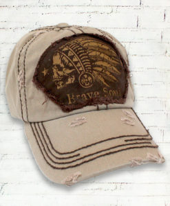 Vintage Khaki Distressed Country Cowgirl Ball Cap Indian Head Brave Soul