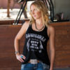 Cowgirls Don't Miss Twice Flowy Racerback Tank, Black