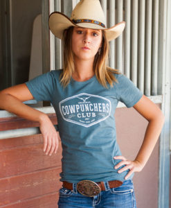 Classic Fit Boyfriend Tee Heather Blue Cotton Country Cowgirl Short Sleeved T-Shirt Cowpunchers Club