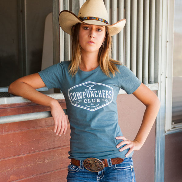 Cowgirl Women's Cowpunchers Club Boyfriend T-Shirt, Heather Green