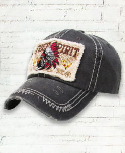 Vintage Gray Distressed Country Cowgirl Ball Cap Indian Head Free Spirit