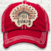 Vintage Red Distressed Country Cowgirl Ball Cap Indian Feather Headdress Free Spirit