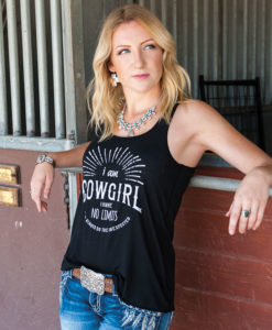 Flowy Black Country Cowgirl Racerback Tank T-Shirt I Am Cowgirl I Have No Limits