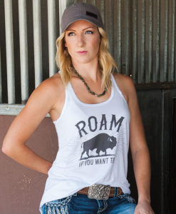 Flowy White Country Cowgirl Racerback Tank T-Shirt Roam If You Want To