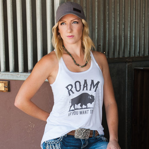 Roam If You Want To Flowy Racerback Tank, White