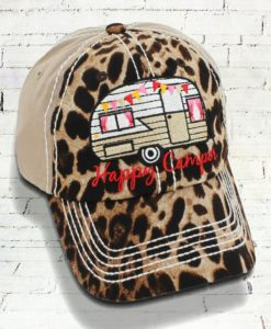 Vintage Khaki Leopard Distressed Country Cowgirl Ball Cap Happy Camper