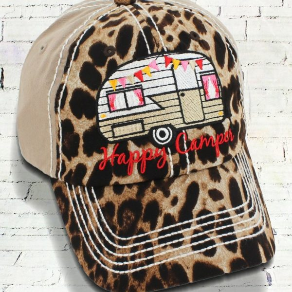 Embroidered Leopard Happy Camper Cowgirl Ball Cap, Khaki