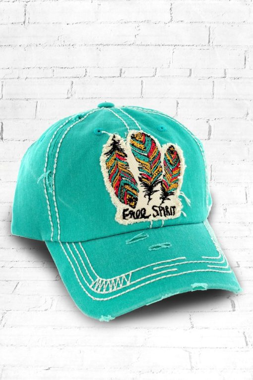 Vintage Mint Green Distressed Country Cowgirl Ball Cap Indian Feather Free Spirit