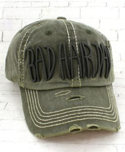 Vintage Olive Green Distressed Country Cowgirl Ball Cap Bad Hair Day