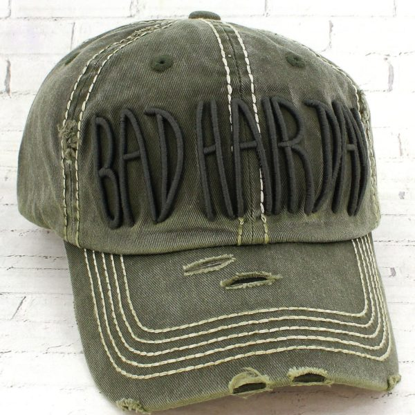 Distressed Raised Embroidered Bad Hair Day Cowgirl Ball Cap, Olive