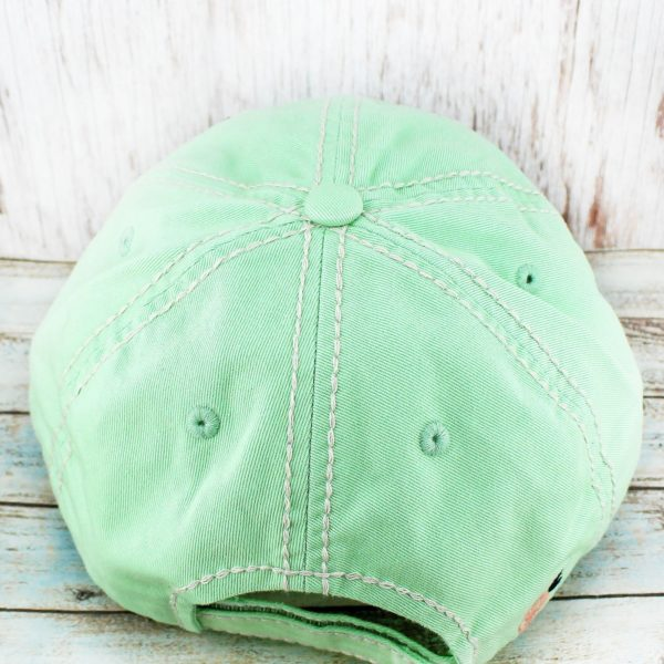 Distressed Floral Steer Head Cowgirl Ball Cap, Mint Green