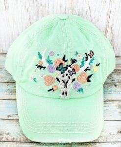 Distressed Mint Green Floral Steer Head Cowgirl Ball Cap