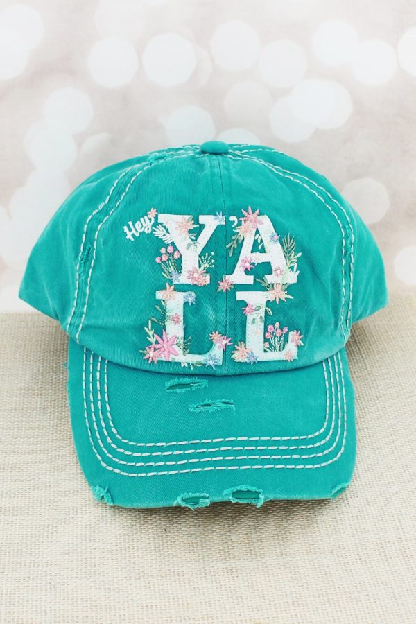 Distressed Turquoise Floral Hey Yall Cowgirl Ball Cap
