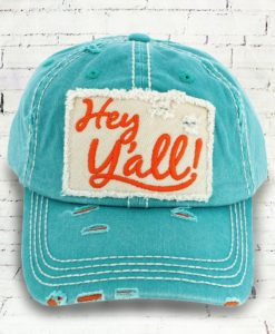 Vintage Mint Green Distressed Country Cowgirl Ball Cap Hey Y'all
