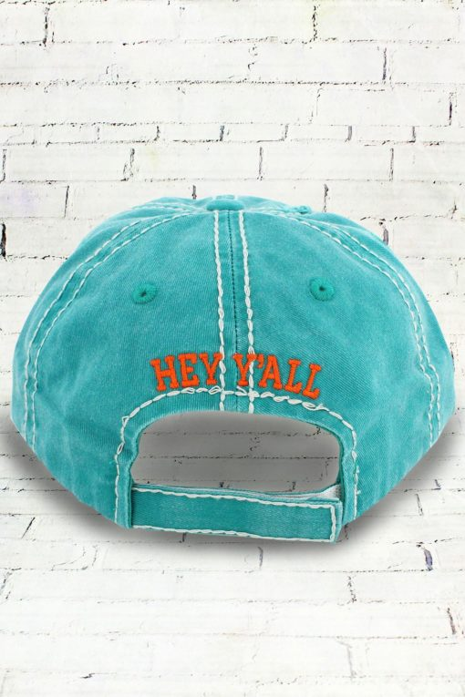 Distressed Embroidered Hey Yall Patch Cowgirl Ball Cap, Mint