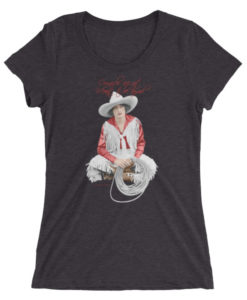 Form Fitting Soft Dark Grey Tee Country Cowgirl Short Sleeved T-Shirt Cowgirls Are Not Meant To Be Tamed Vera McGinnis