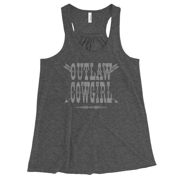 Outlaw Cowgirl Flowy Racerback Tank, Heather Gray