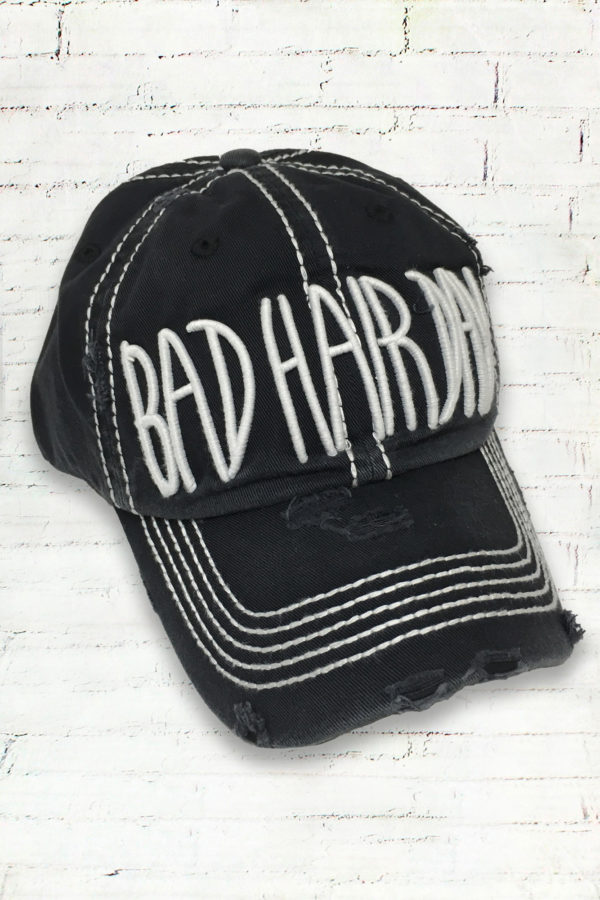 Distressed Black Bad Hair Day Cowgirl Ball Cap
