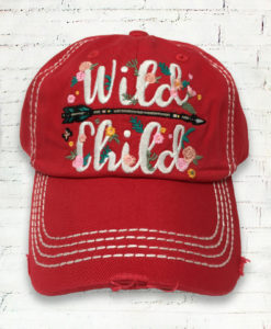 Distressed Wild Child Floral Cowgirl Ball Cap