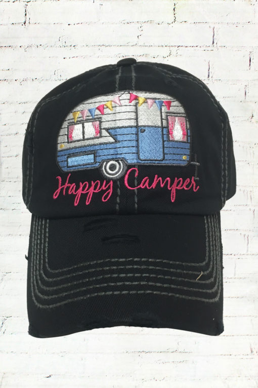 Distressed Black Happy Camper Cowgirl Ball Cap