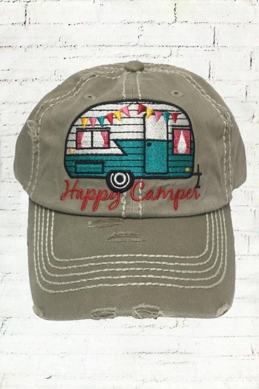 Distressed Taupe Happy Camper Cowgirl Ball Cap