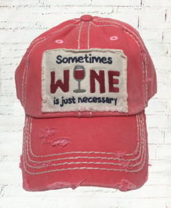 Distressed Salmon Sometimes Wine Cowgirl Ball Cap